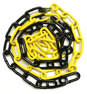 6mm x 42mm Coloured Epoxy Coated Electro-Galvanised Steel Welded Barrier Chain - Yellow / Black